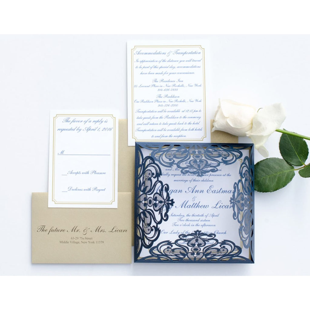 Laser Cut Wedding Invitation, Kimberly - All That Glitters Invitations