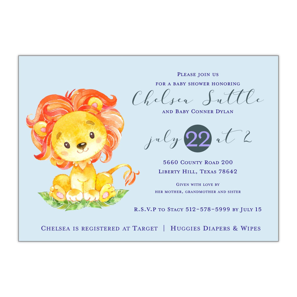 Lion Baby Shower Invitation - All That Glitters Invitations