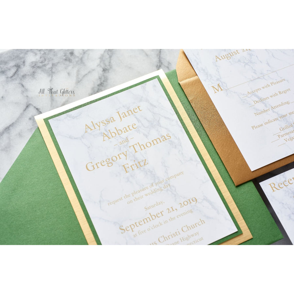 Marble and Foil Wedding Invitation, Alyssa - All That Glitters Invitations
