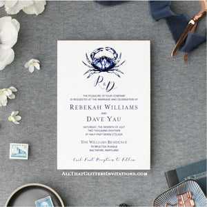 Maryland Blue Crab Wedding Invitations - All That Glitters Invitations