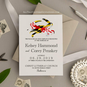 Maryland Flag Crab Wedding Invitation, Kelsey - All That Glitters Invitations