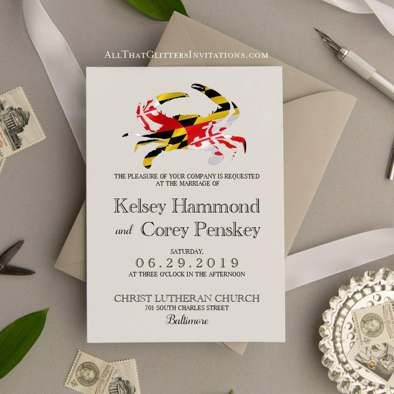 Baltimore Maryland Flag Crab Wedding Invitation