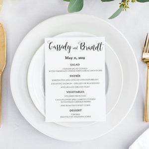Modern Calligraphy Reception Dinner Menu, Cassidy - All That Glitters Invitations