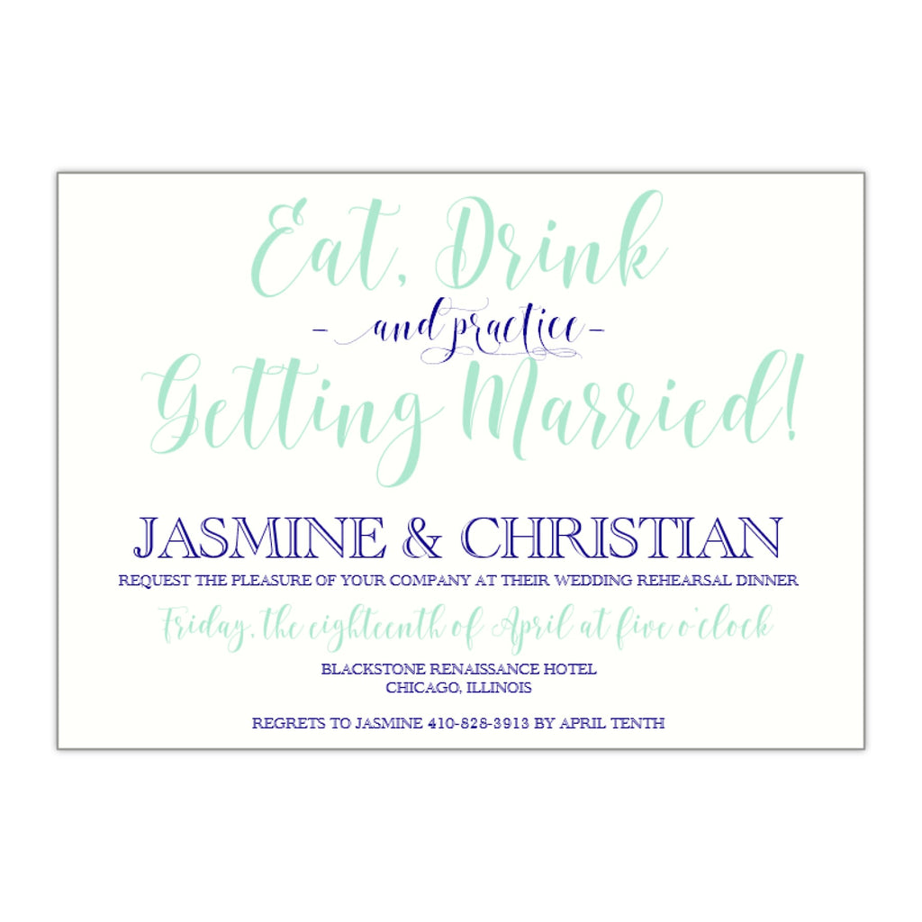Modern Calligraphy Rehearsal Dinner Invitation, Jasmine - All That Glitters Invitations