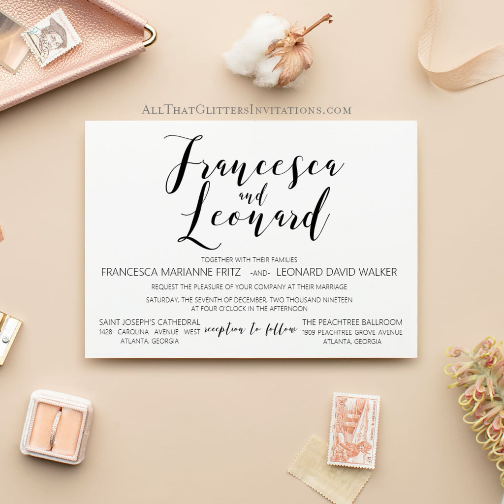 Modern Calligraphy Wedding Invitation, Francesca - All That Glitters Invitations