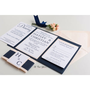 Modern Classic Wedding Invitation, Hayley - All That Glitters Invitations