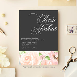Modern Floral Wedding Invitation, Olivia - All That Glitters Invitations