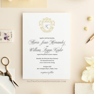 Modern Monogram Crest Wedding Invitation - All That Glitters Invitations