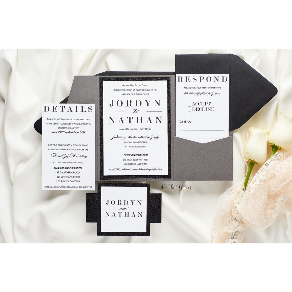 Modern Pocketfold Invitation, Jordan - All That Glitters Invitations