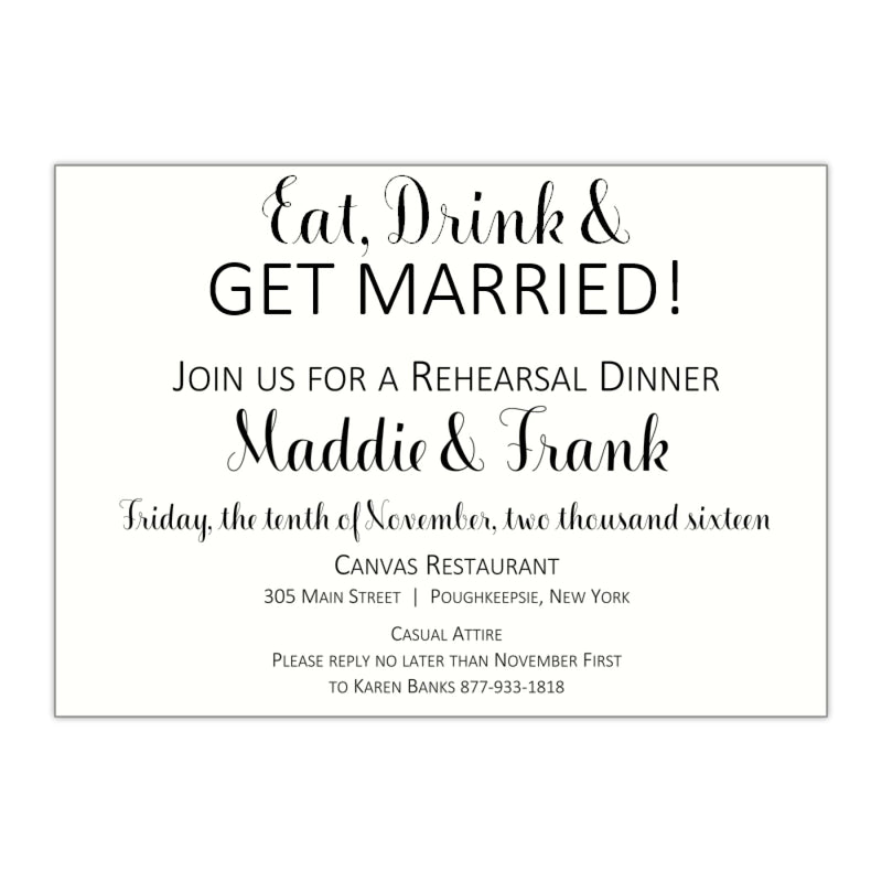 Modern Rehearsal Dinner Invitation, Madelyn - All That Glitters Invitations
