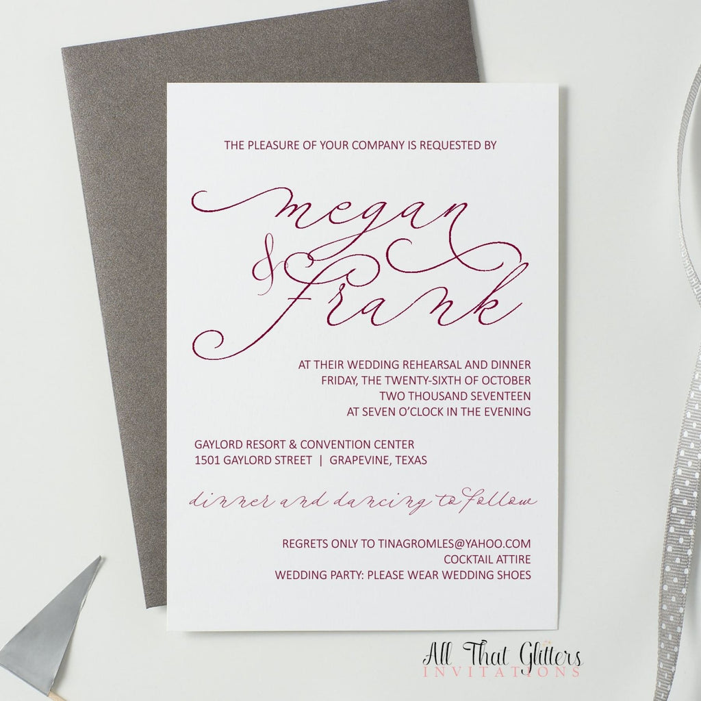 Modern Rehearsal Dinner Invitation, Megan - All That Glitters Invitations