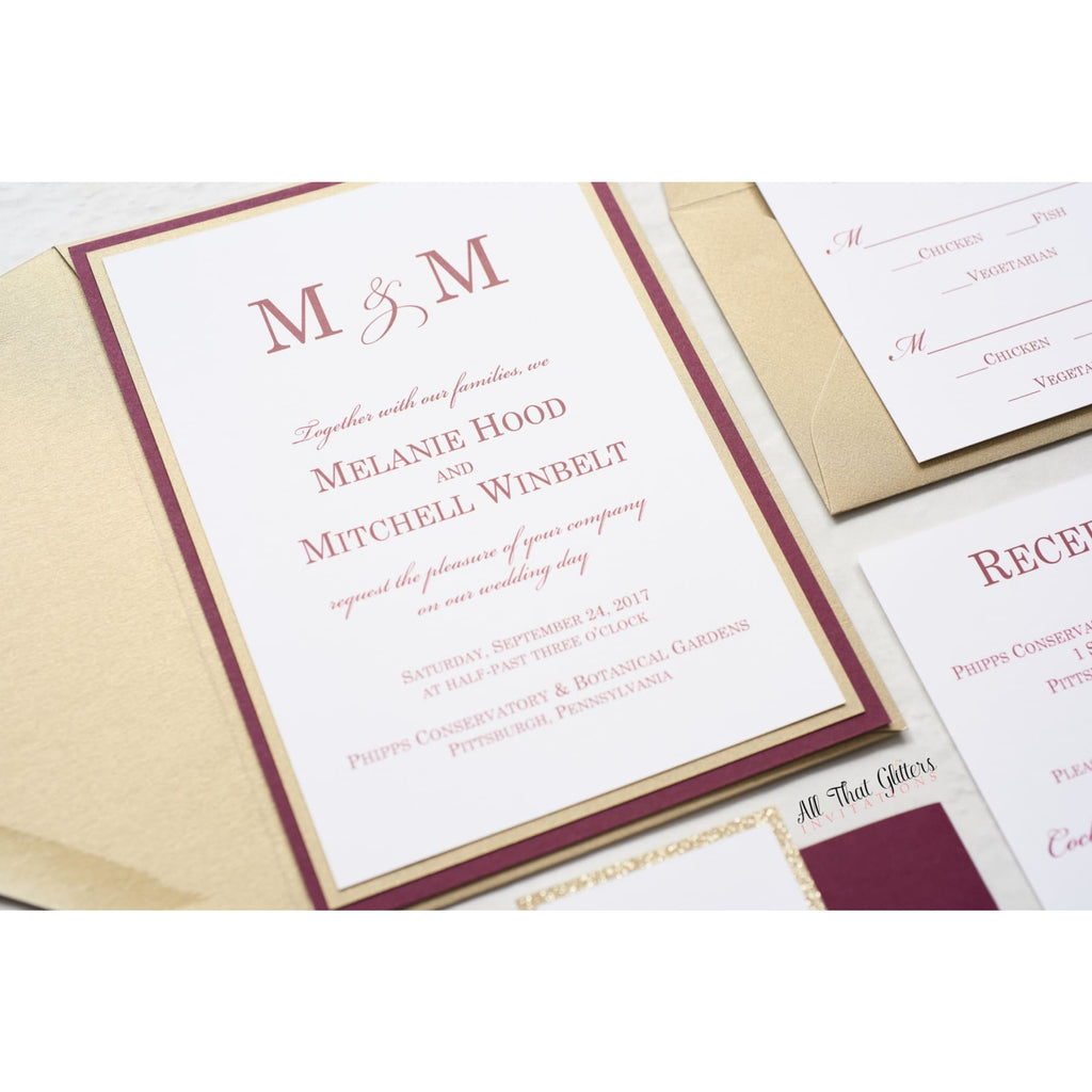 Modern Wedding Invitation, Melanie - All That Glitters Invitations