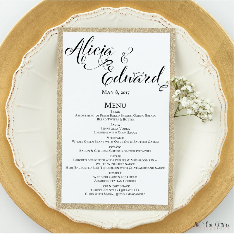 Modern Wedding Reception Dinner Menu, Alicia - All That Glitters Invitations