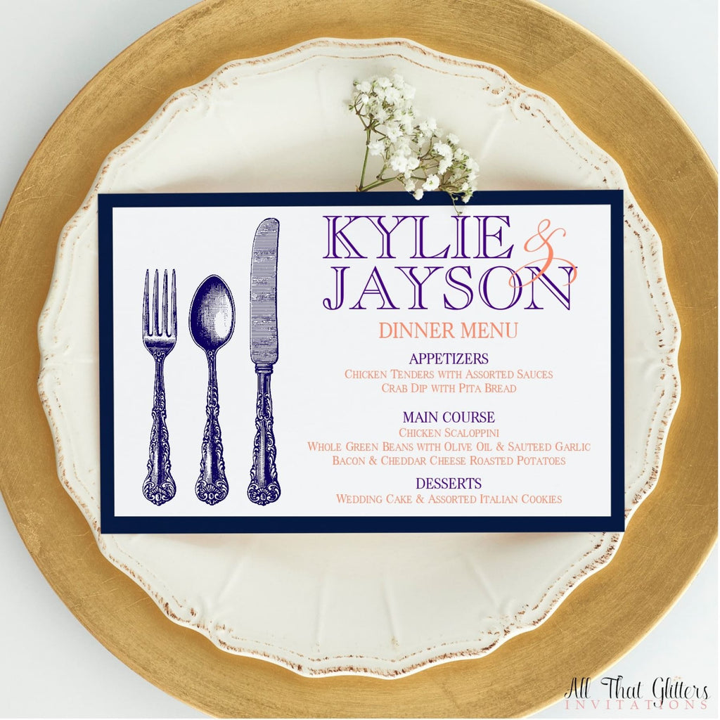 Modern Wedding Reception Dinner Menu, Kylie - All That Glitters Invitations