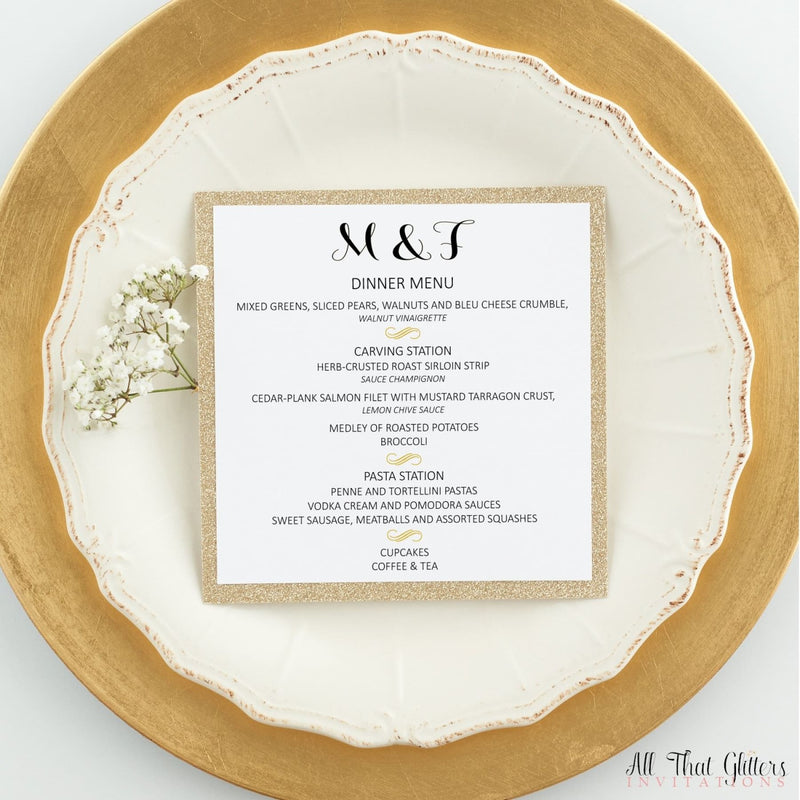 Modern Wedding Reception Dinner Menu, Madelyn - All That Glitters Invitations