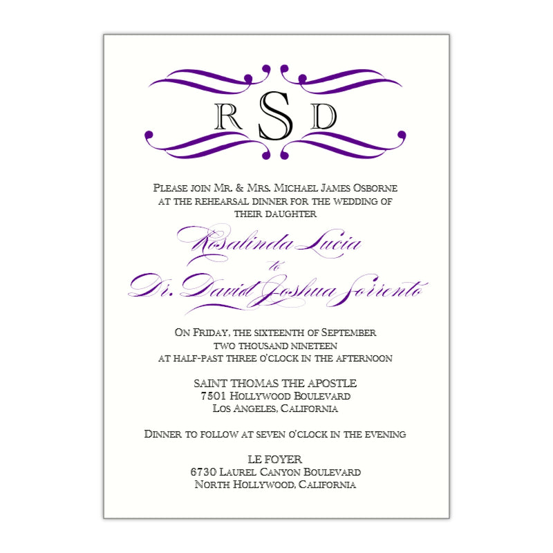 Monogram Flourish Rehearsal Dinner Invitation, Rosie - All That Glitters Invitations