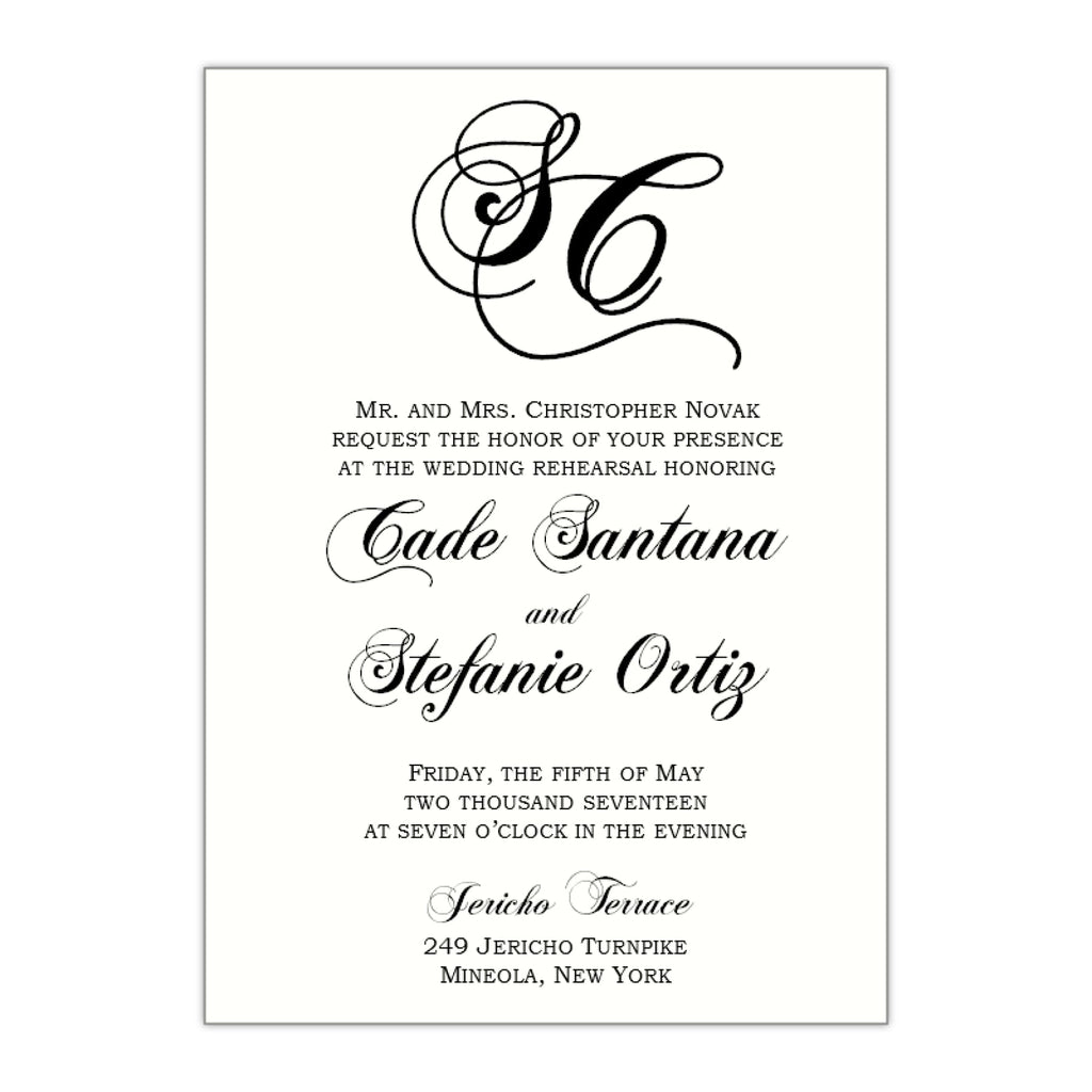 Monogram Rehearsal Dinner Invitation, Stefanie - All That Glitters Invitations