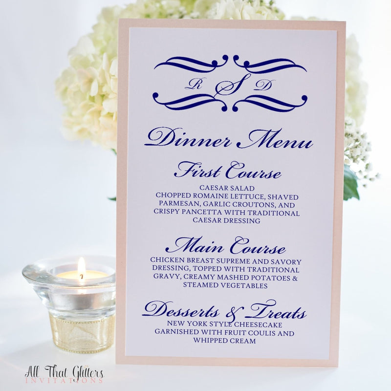 Monogram Wedding Reception Menu, Rosie - All That Glitters Invitations