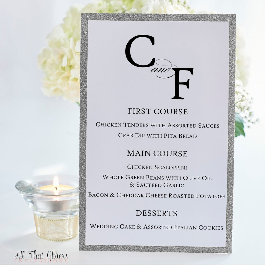 Monogrammed Wedding Reception Dinner Menu, Cristiana - All That Glitters Invitations