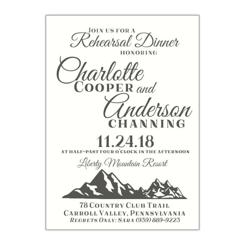 Mountain Outdoor Rehearsal Dinner Invitation, Charlotte - All That Glitters Invitations