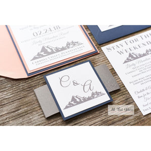 Mountain Wedding Invitation, Charlotte - All That Glitters Invitations