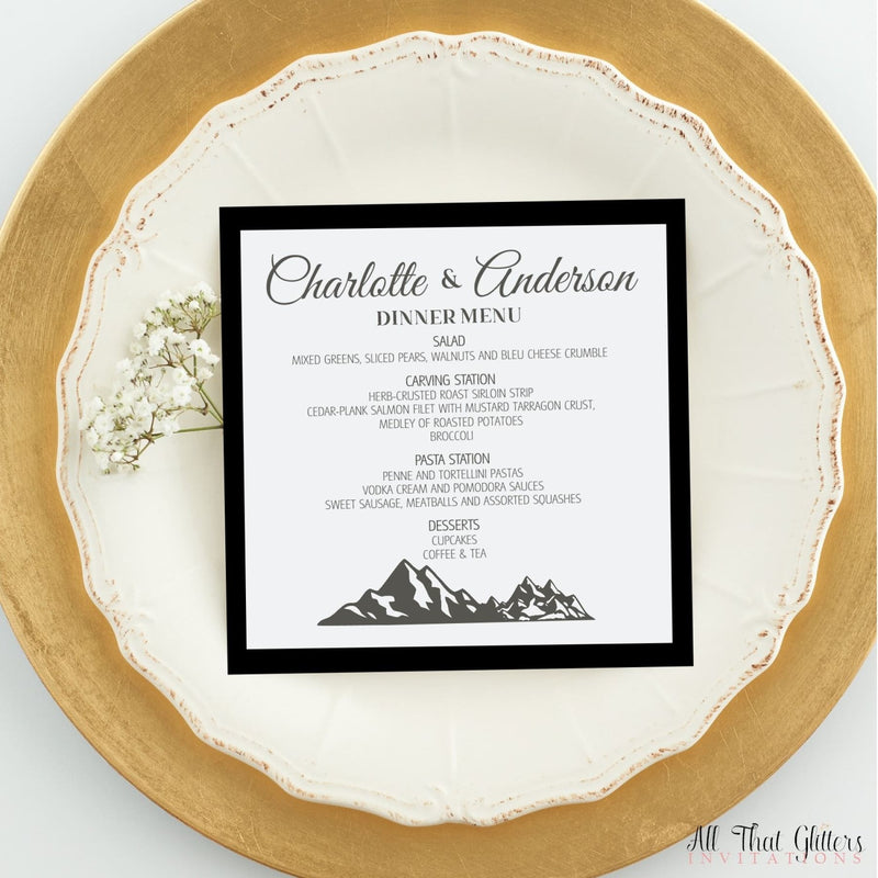 Mountain Wedding Reception Dinner Menu, Charlotte - All That Glitters Invitations