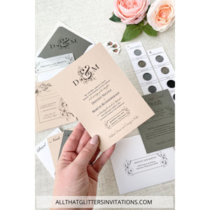 Multi-Color Wedding Invitation with Botanic Flower - All That Glitters Invitations