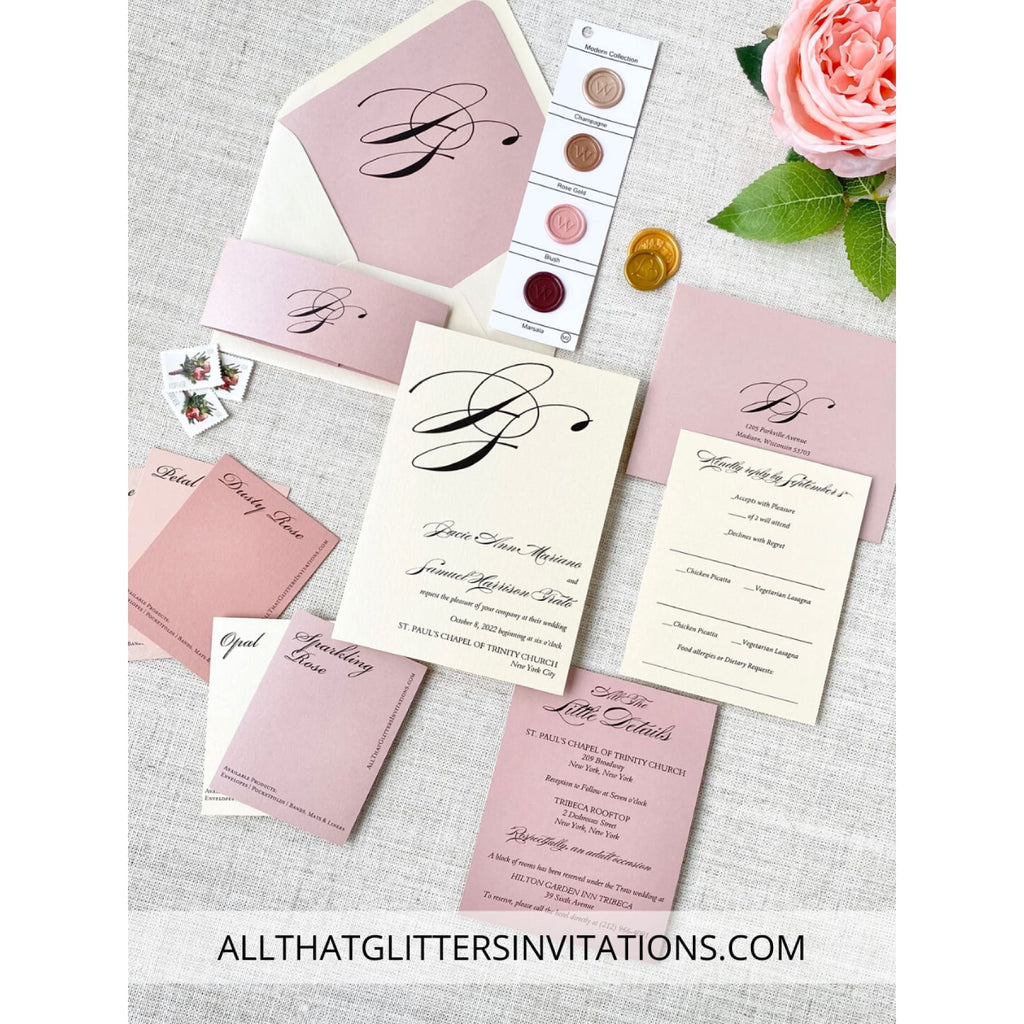 Multi-color wedding invitations with initial monogram - All That Glitters Invitations