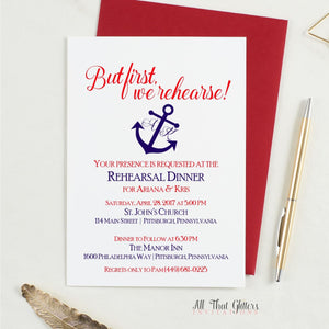 Nautical Rehearsal Dinner Invitation - All That Glitters Invitations