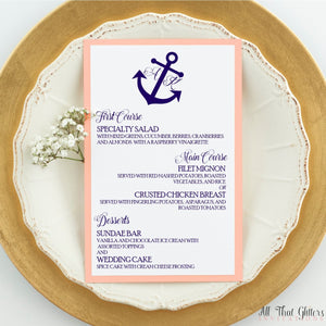 Nautical Wedding Reception Dinner Menu, Ariana - All That Glitters Invitations
