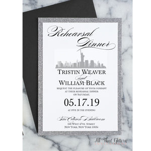 New York City Skyline Rehearsal Dinner Invitation, Tristen - All That Glitters Invitations