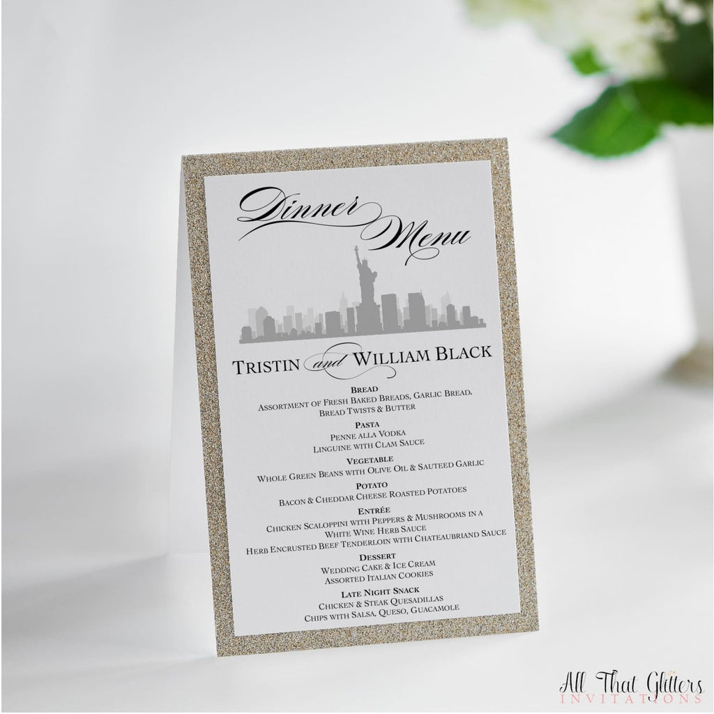 NYC Skyline Wedding Reception Menu, Tristin - All That Glitters Invitations