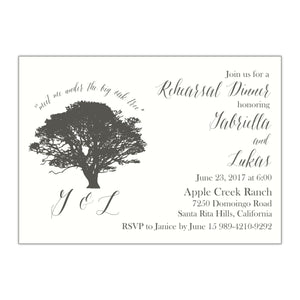 Oak Tree Rehearsal Dinner Invitation, Gabriella - All That Glitters Invitations