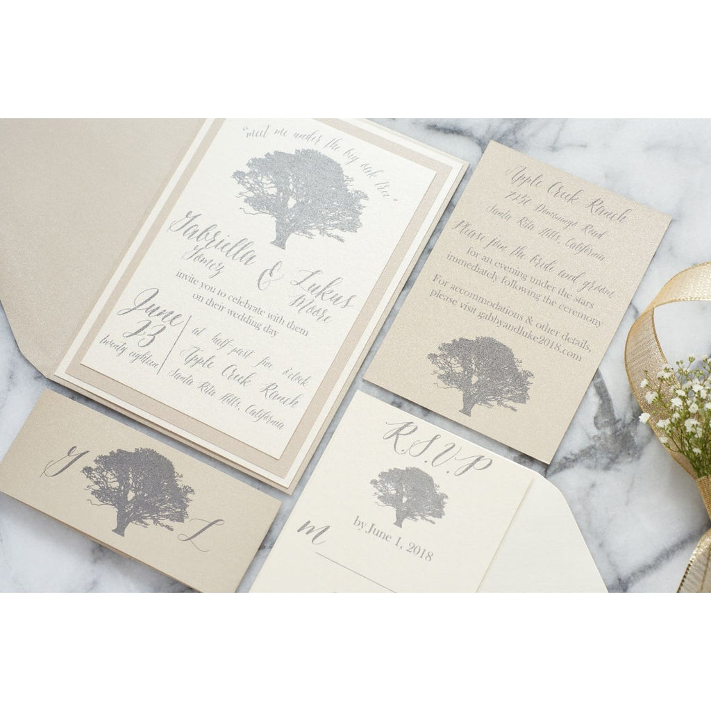 Oak Tree Wedding Invitation Suite, Gabriella - All That Glitters Invitations