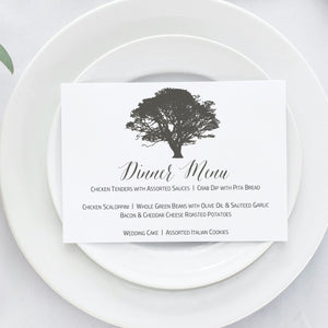 Oak Tree Wedding Reception Dinner Menu, Gabriella - All That Glitters Invitations