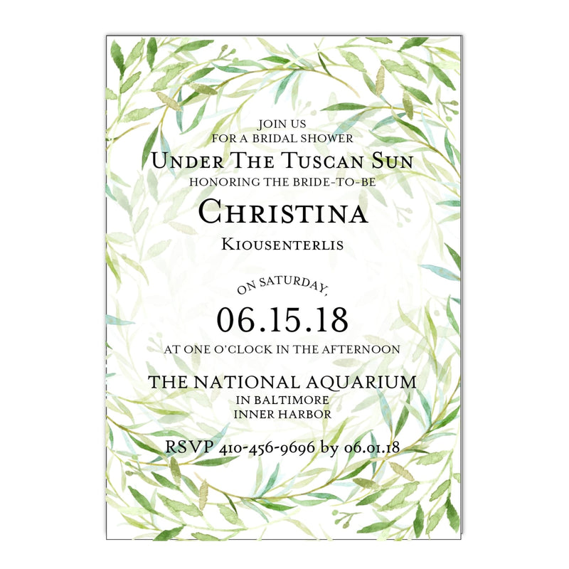 Olive Branch Bridal Shower Invitation - All That Glitters Invitations