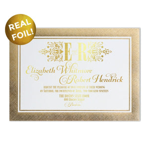 Ornate Foil Border XL Wedding Invitation - All That Glitters Invitations