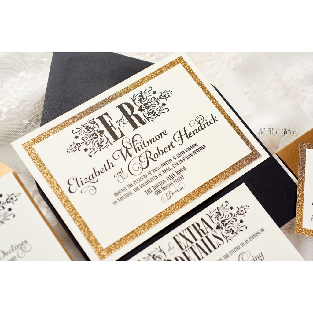 Ornate Wedding Invitation, Elizabeth - All That Glitters Invitations