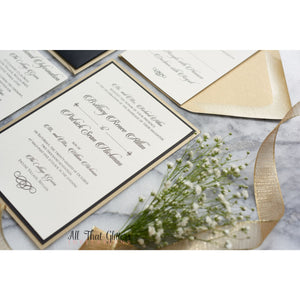 Panel Pocket Wedding Invitation, Brittney - All That Glitters Invitations