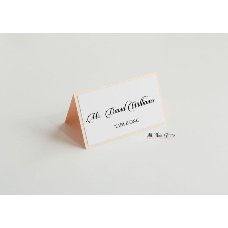 Paper Backed Tented Place Cards - All That Glitters Invitations