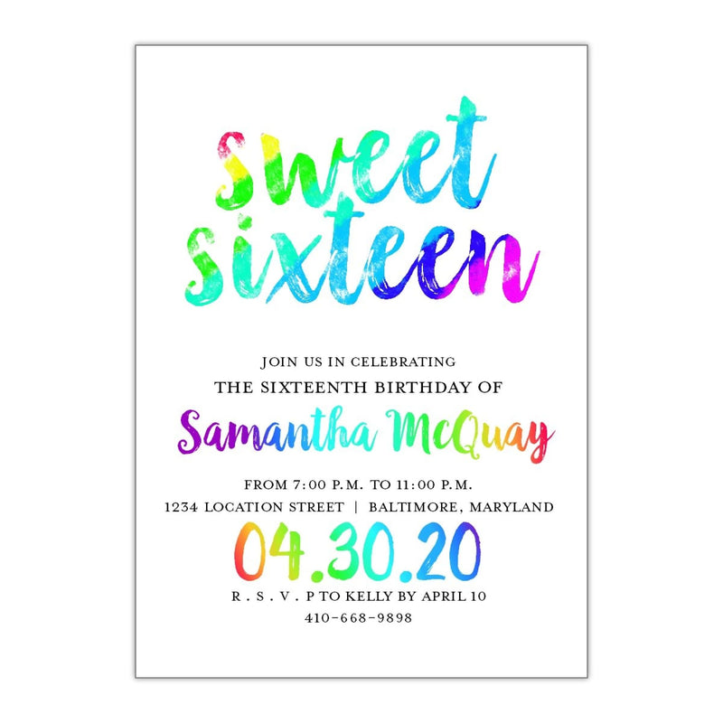 Rainbow Brush Sweet 16 - All That Glitters Invitations