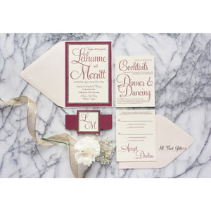Romantic Script Wedding Invitation, Leihanne - All That Glitters Invitations