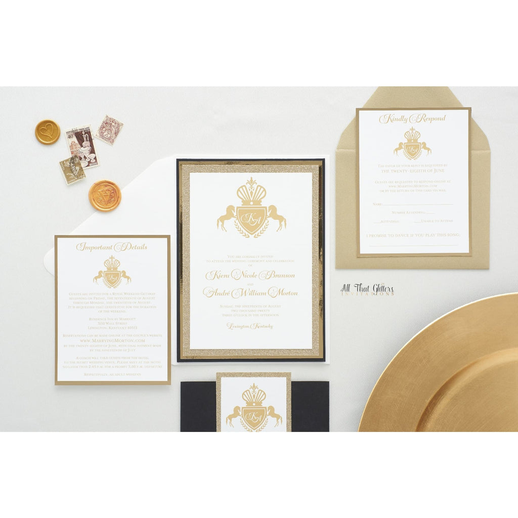 Royal Crest Wedding Invitation, Kiera - All That Glitters Invitations