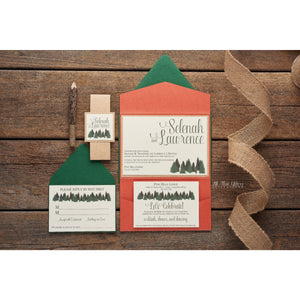 Rustic Pine Tree Wedding Invitation, Selenah - All That Glitters Invitations