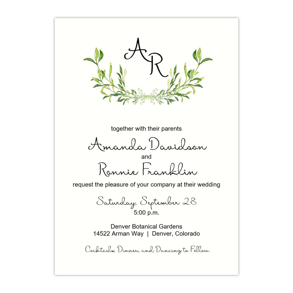Rustic Wreath Wedding Invitation - All That Glitters Invitations