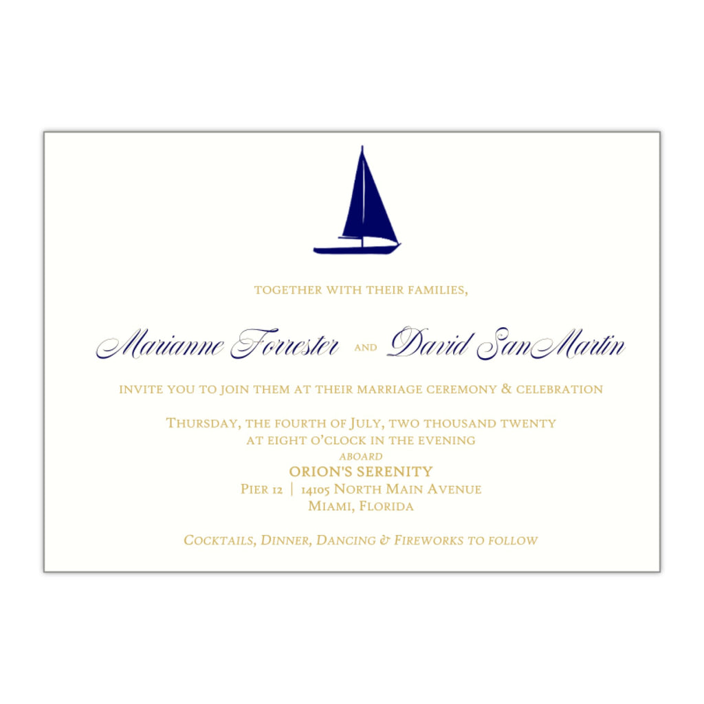 Sailboat Nautical Wedding Invitations - All That Glitters Invitations