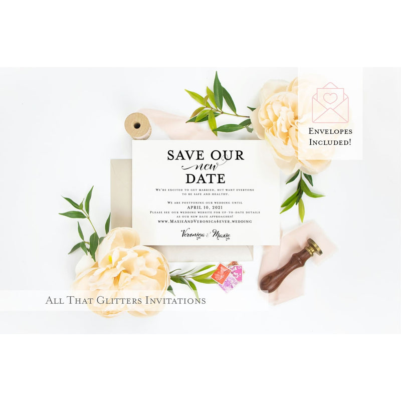 Save Our New Date Wedding Postponement Announcement - All That Glitters Invitations