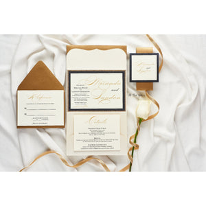 Scallop Pocketfold Wedding Invitation, Miranda - All That Glitters Invitations