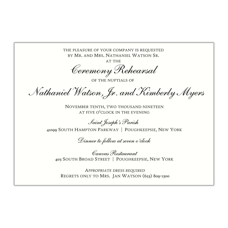 Script Rehearsal Dinner Invitation, Kimberly - All That Glitters Invitations