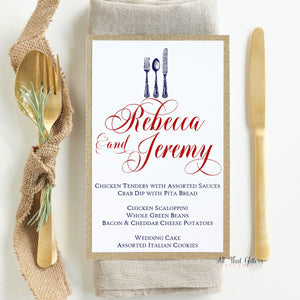 Script Wedding Reception Menu, Rebecca - All That Glitters Invitations